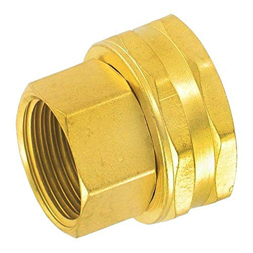 """Gilmour Double Female Brass Swivel Connector Thread Size 1/2"""" NPT (F) to 3/4"""" NH (F) 805574-1001"""