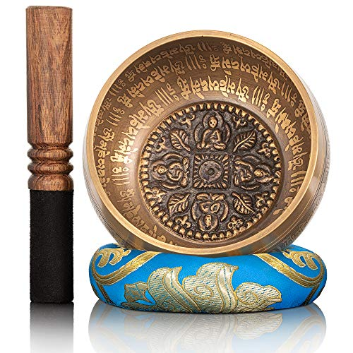 Dhyana House Tibetan Singing Bowl Set — With Striker, Ring Slik Cushion for Meditation, Mindfulness, Healing, Yoga, Chakra, Relaxation & Music Handcrafted in Nepal — 4 Mini Buddha Design