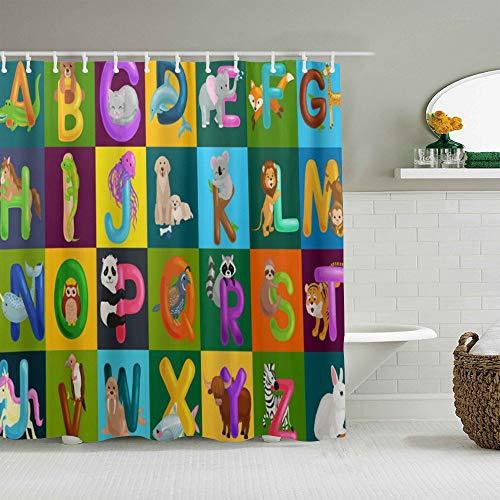 QINCO Duschvorhang,Lustige Tiere Alphabet Buchstaben ABC Vorschulerziehung,personalisierte Deko Badezimmer Vorhang,mit Haken,180 * 210