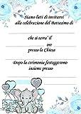 Giomel Inviti Partecipazioni Battesimo 10,5x14,8 cm 20 Pezzi (Celeste)