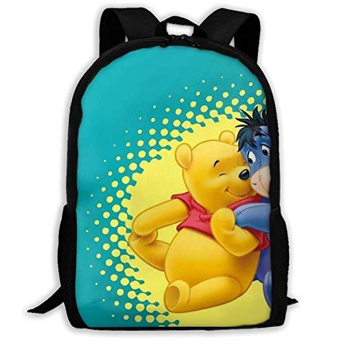 Beating Heart Mochila Escolar, Personalizada Winnie The Pooh y Friend Eeyore Mochila Informal Mochila Escolar Mochila de Viaje Regalo
