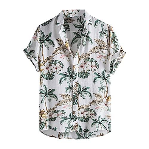 Camisa de verano para hombre, manga corta, con botones, para verano, vintage, con bolsillos, para el tiempo libre Blanco_1 M