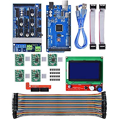 Youmile 3D Printer Controller Board RAMPS 1.6 3D Printer Controller Kit for Arduino Mega 2560 Uno R3 Starter Kits + 5PACK A4988 Stepper Motor Driver + LCD 12864 for Arduino Reprap