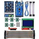 Youmile 3D-Drucker-Controller-Board RAMPS 1.6 3D-Drucker-Controller-Kit für Arduino Mega 2560 Uno R3-Starter-Kits + 5er-Pack A4988-Schrittmotortreiber + LCD 12864 für Arduino Reprap