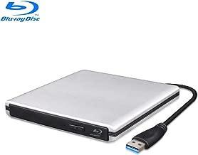 MthsTec USB 3.0 External Bluray DVD Drive, Slim Portable DVD CD Burner Blu-Ray Combo Drive BD ROM Reader Player CD DVD RW Drive for Laptop/Desktops/MacBook(Silver)