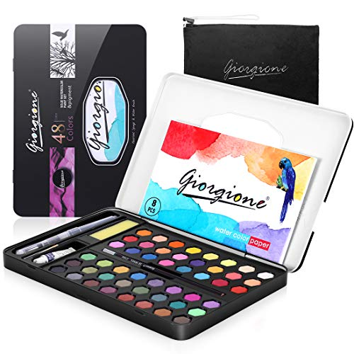 AGPTEK 48 Watercolor Paint Sets, 64Pcs Watercolor Palette High Pigment in Tin Box with Storage Bag, 1 Brush, 1Pencil, 8 Papers Sheet, Ideal for Beginners, Professional Artists and Kids