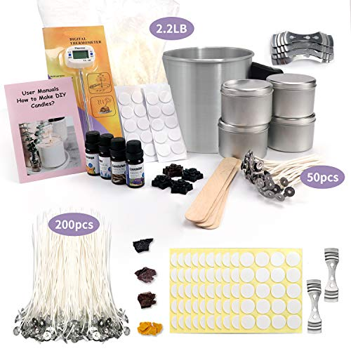 Candle Making Kits for Adults and 200 Pcs Candle Wacks Include Wax, Rich Scents, Dyes, Wicks, Melting Pitcher, Tins & More