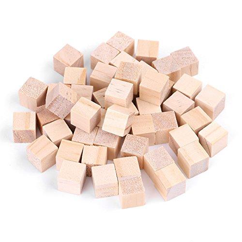 Akozon houten kubus natuurlijke vierkante houten blokken voor doe-het-zelf handgemaakte houtblokken voor kinderen speelgoed home decoratie handwerk ruimte houten blokken voor puzzel maken kunsthandwerk