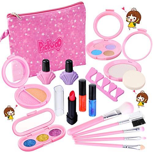 Pickwoo Kinderschminke Set Mädchen Make up für Kinder,17 Stück waschbar sicher ungiftig echt kosmetisches mit Kosmetiktasch Karneval & Geburtstagsfeier Kinder, Mädchen, Jungen