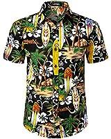 JOGAL Men's Beach Aloha Casual Button Down Short Sleeve Hawaiian Shirt XXX-Large Black