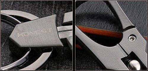 ZooooMダブルリングキーホルダーキーリングカラビナフックファッションデザインメンズ男性車鍵キー(シルバー)ZM-KEY639-sv
