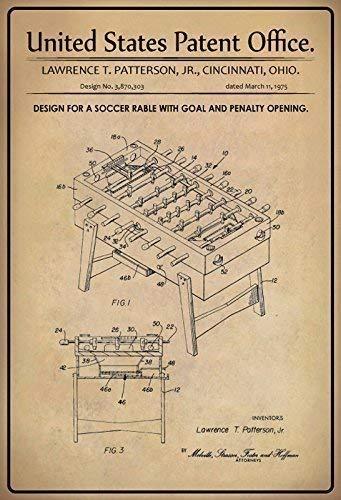US Patent Tischkicker Tischfußball Soccer Rable 1975 Blechschild Schild Blech Metall Metal Tin Sign 20 x 30 cm P0179