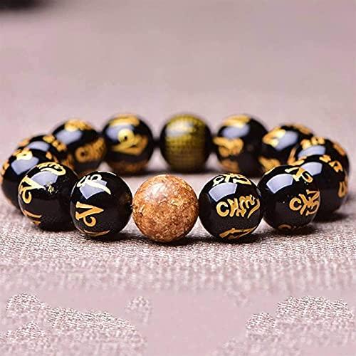 Rader Beads Islam Premium Piedra de Piedras Preciosas Pulseras de Cuentas para Hombres Feng Feng Shui Black Obsidian Pulsera de la Riqueza de la obsidiana de Seis Personajes Mantra Buddha Beads Charm