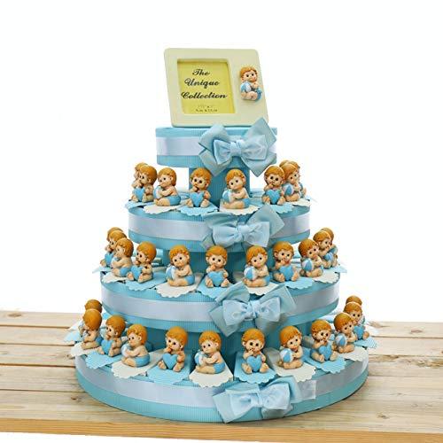 Viale Magico Torta Bomboniera Nascita Statuina Bimbo con Palla e Cuore, Pensierini Primo Compleanno Bimbo Originali, Bomboniere Battesimo Statuina (Torta da 60 Pezzi)