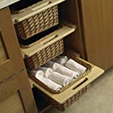 Pull-Out Wicker Basket with Frame Handles for Framed or Frameless 15' or 18' Cabinets w/Beech Frame and Runners (1, Width (14 5/16') for 18' Cabinets)