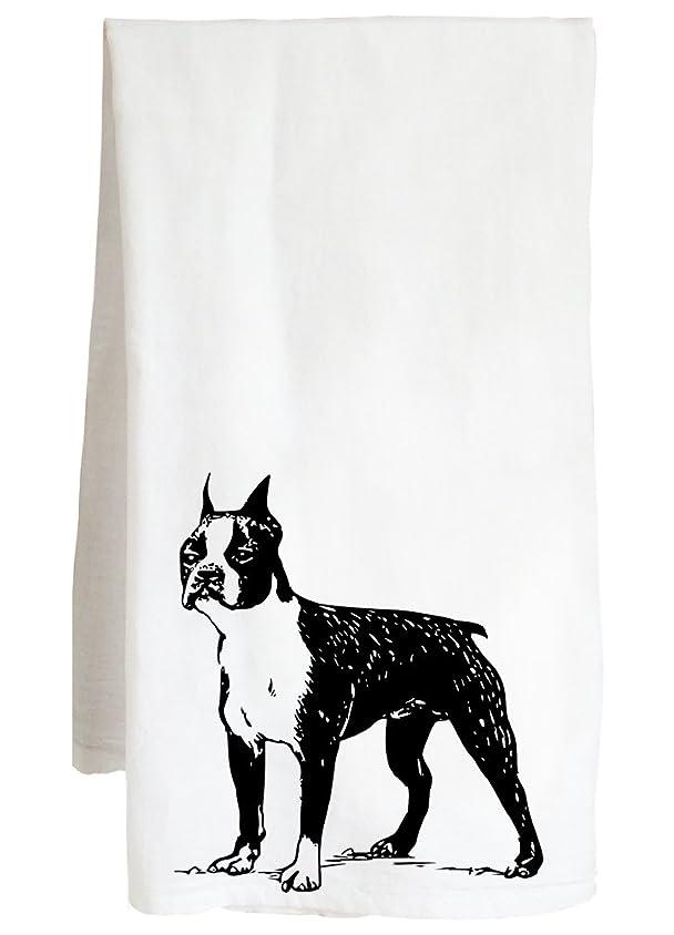 菊アプライアンス休日ボストン?テリア?–?犬フランク?Cute Canine Decor?–?ファーム小麦粉袋キッチンティータオル 28in x 28in ホワイト 30145--floursacktowel
