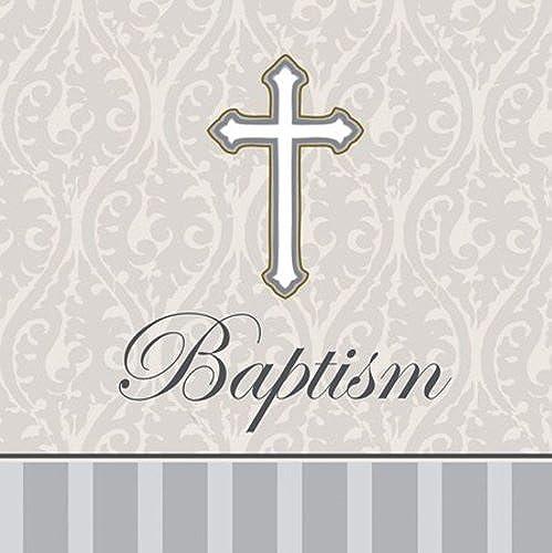 Unbekannt 16 ück Taufe Lunch-Servietten, Silber Devotion Kreuz