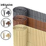 Ribelli® PVC Sichtschutzmatte Sichtschutzzaun Sichtschutz Zaun Balkon Windschutz (140 x 500 cm, Braun)