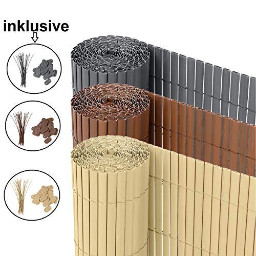Ribelli® PVC Sichtschutzmatte Sichtschutzzaun Sichtschutz Zaun Balkon Windschutz (90 x 300 cm, Bambus)