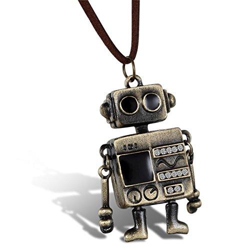 JewelryWe Schmuck Samtseil Kette mit Strass Niedlichem Alien Roboter Anhänger, Pullover Halskette für Damen und Herren, Länge 80cm Verstellbar