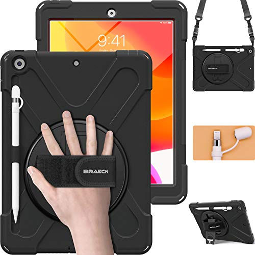 BRAECN iPad 8th Generation Case,Heavy Duty Shockproof Case with Screen Protector, Pencil Holder, Pencil Cap Holder, Hand…