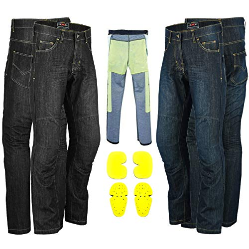 RXL Motorcycle Jeans Made with Kevlar Motorbike Protective Pants Protective Lining Reinforced Denim Trouser CE Approved Armours (Black, M (W32-L32))