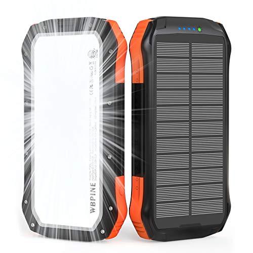 WBPINE Solar Powerbank 20100mAh,Wasserdicht Solar Ladegerät mit LED...