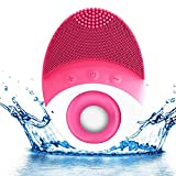 Sonic Facial Brush, Silicon Face Brush Vibrating Waterproof Cleansing System with Wireless Charging Base, Facial Cleaner and Massager, Facial Cleaning Brush for Face SPA Skin Care (Rose 1)