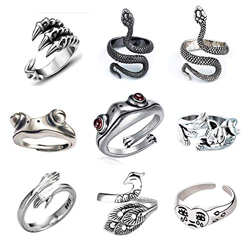 SUNNYOUTH 9 Pcs Frog Rings Cute Animal Open Ring Retro Vintage Snake Rings Set Statement Biker Punk Rings for Women Girls Men