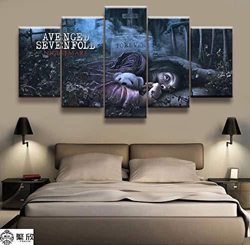 WYJIE 5 Panel Avenged Sevenfold Heavy Metal Band Poster Canvas Impreso Pintura...