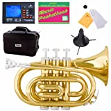 Mendini MPT-L Gold Lacquer Brass Bb Pocket Trumpet + Tuner,...