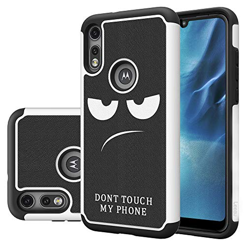LEEGU Phone Case for Motorola Moto E7 / Moto E 2020, Shock Absorption Dual Layer Heavy Duty Protective Silicone Plastic Cover Rugged Cases - Don't Touch My Phone