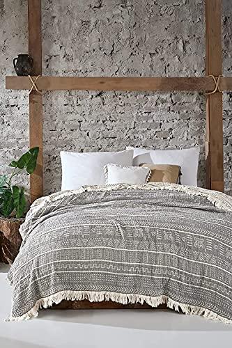 BOHORIA® Musselin Tagesdecke The Aztec Throw extra groß 220 x 240cm | 100prozent Baumwolle | Oeko-Tex® | Überwurf für Sofa, Sessel und Bett | Kuscheldecke Sofadecke Wolldecke Wohndecke (Obsidian)