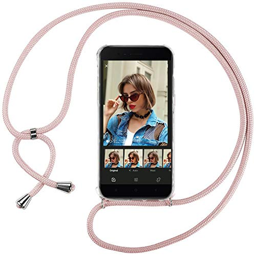 Ingen Funda con Cuerda para Xiaomi Mi A1 - Carcasa Transparente TPU Suave Silicona Case con Colgante - Rosa
