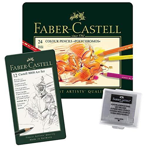Faber-Castell 110024 - Künstlerfarbstift, 24 Polychromos Metalletui (24er Metalletui | Radierer | BS Castell 9000)