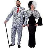 Déguisement pour couple adulte style dalmatien avec pour l'Homme (Small) une veste et un pantalon + cravate rouge et pour la Femme (Large) une robe noire + une cape couvre épaules + une perruque. Idéal pour les fêtes d'Halloween ou les enterrements de vie de garçon et de jeune fille.