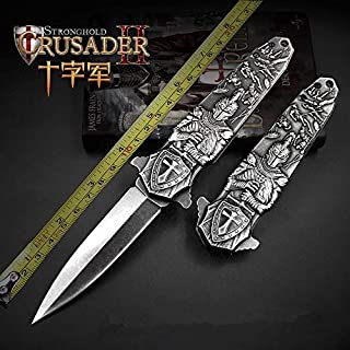 JGN Trading Stonewash Tactical Spring Assisted Opening Knifes 440C Fold Blade Outdoor Fast Open Hunting Knife Survival Tools 3D Cross Carving Knives Camping EDC Collection Gifts