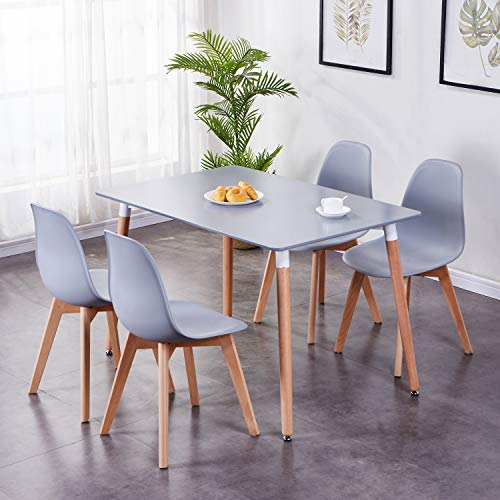 GOLDFAN Dining Table and Chairs Set 4 Modern Rectangle Kitchen Table and Chairs with Solid Wood Legs 120CM Dining Table Set,Grey