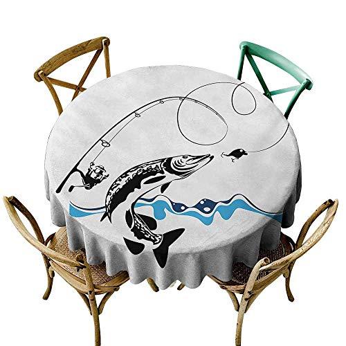 Zzmdear - Mantel a Prueba de Fugas y Aceite, Acuarela, Pintura de Pescado con Grunge vívidos Pinceladas y Salpicaduras, Concepto náutico, Ideal para Mesa de Buffet