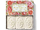 Rose Garden, jabón de Rosa, pack regalo 3 pastillas de 125 g, Jabón italiano de Fiorentino