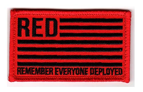 Remember Everyone Deployed R.E.D. Blk/Red Hook & Loop 2 Piece Patch