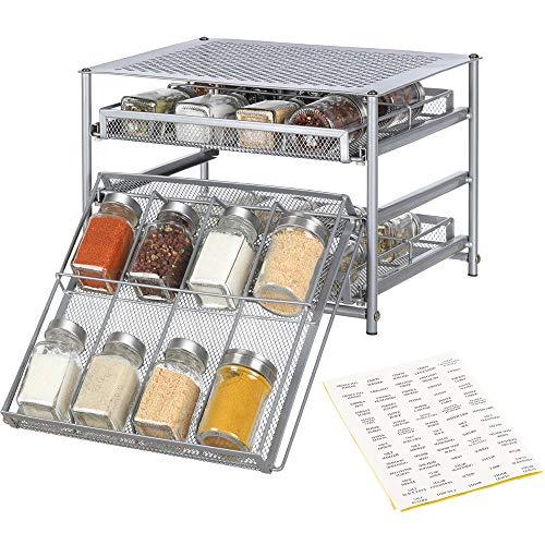 Nandae Organizador de Almacenamiento de cajones de Especias de 3 Niveles para Estante de Especias para encimera de gabinete de Cocina
