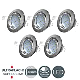 B.K.Licht I 5er Set schwenkbare LED Einbaustrahler I...