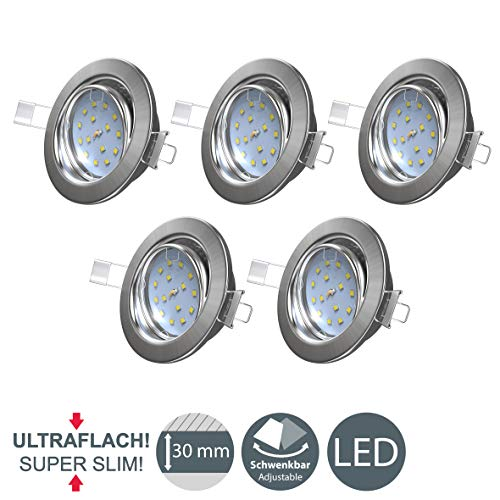 LED Einbaustrahler ultra flach - warmweiß - inkl. 5x 5W Modul 230V 400LM - Schwenkbar Einbauleuchten matt-nickel