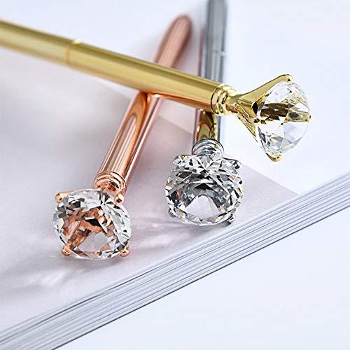 ZZTX 5 PCS Big Crystal Diamond Ballpoint Pen Bling Metal Ballpoint Pen Office Supplies, Rose Gold/Silver/Gold/White With Rose Polka Dots/Rose Gold With White Polka Dots, Includes 5 Black Velvet Bags Photo #8