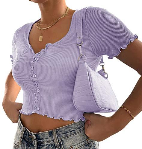 Minetom Damen Mädchen Oberteile T-Shirt Kurzarm Crop Top Kurz Shirts Sommer Sexy Schick Knopf Einfarbig Slim Bluse Streetwear D Violett 36