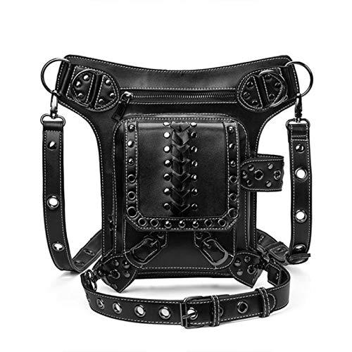 CCLIN Hombres Moto PU Cuero Cintura Bolsa Punk cinturón Bolsa Vendimia Bolsa...