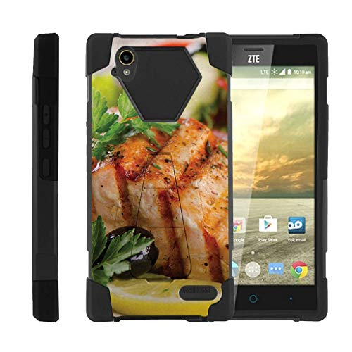 TurtleArmor | Compatible with ZTE Warp Elite Case | N9518 [Dynamic Shell] Fitted Impact Resistant Dual Hybrid Kickstand Cover Rubber Gel Skin Hard Protector Food - Grilled Salmon