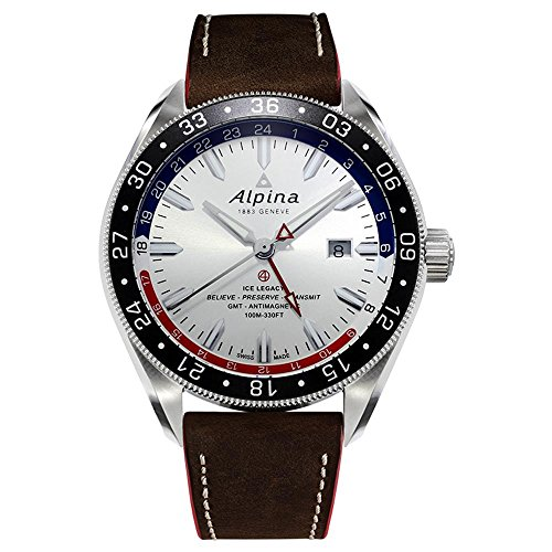 Alpina Herren-Armbanduhr 44mm Armband Leder Schweizer Automatik AL-550SRN5AQ6