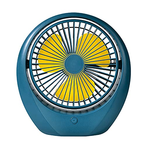 WANGLX Ventilador de Escritorio USB,Mini Ventilador de Mesa,Ventilador de Escritorio USB Recargable,Ventilador de Enfriamiento Portátil, Operación Silenciosa,Blue
